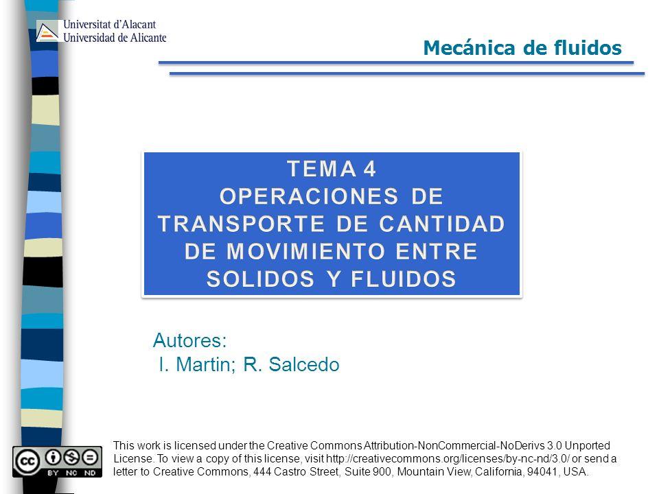 Mecánica de fluidos TEMA 4. OPERACIONES DE TRANSPORTE DE CANTIDAD DE MOVIMIENTO ENTRE SOLIDOS Y FLUIDOS.