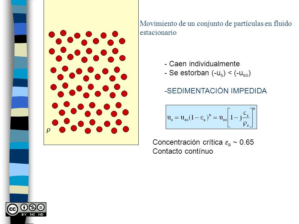 Movimiento de un conjunto de partículas en fluido estacionario