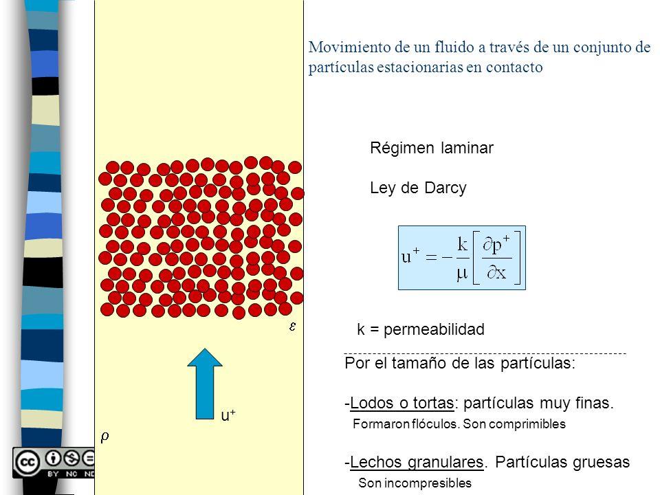 r Movimiento de un fluido a través de un conjunto de partículas estacionarias en contacto. Régimen laminar.