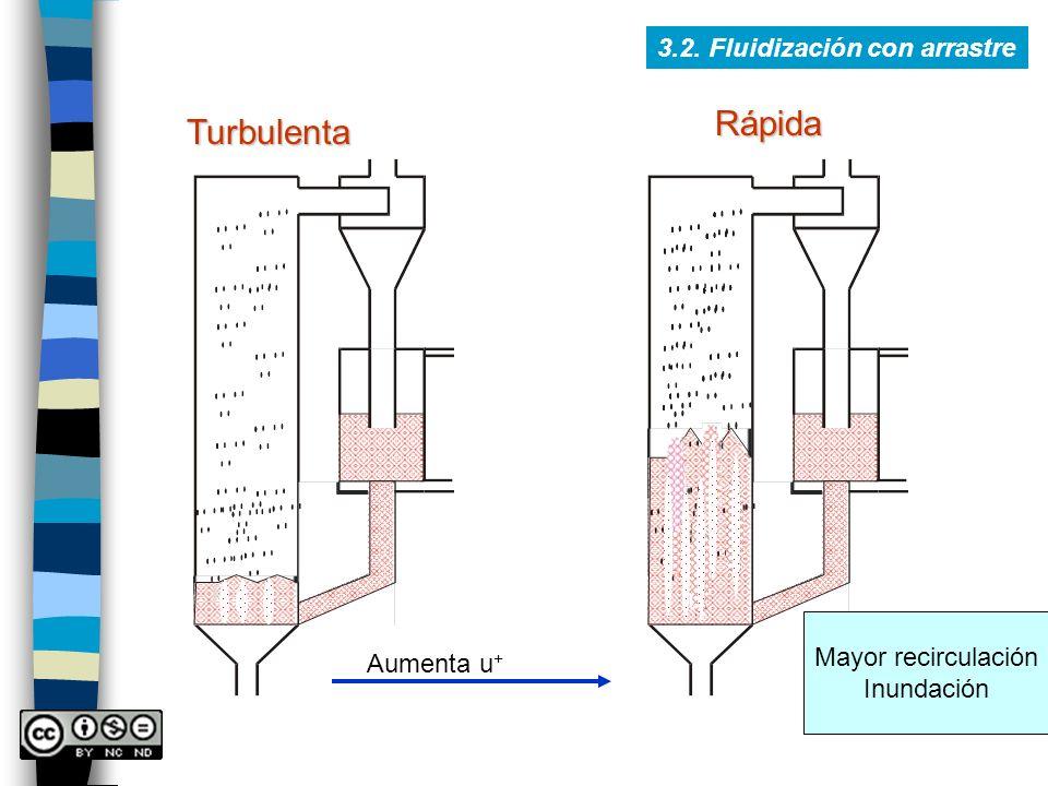 Rápida Turbulenta 3.2. Fluidización con arrastre Mayor recirculación