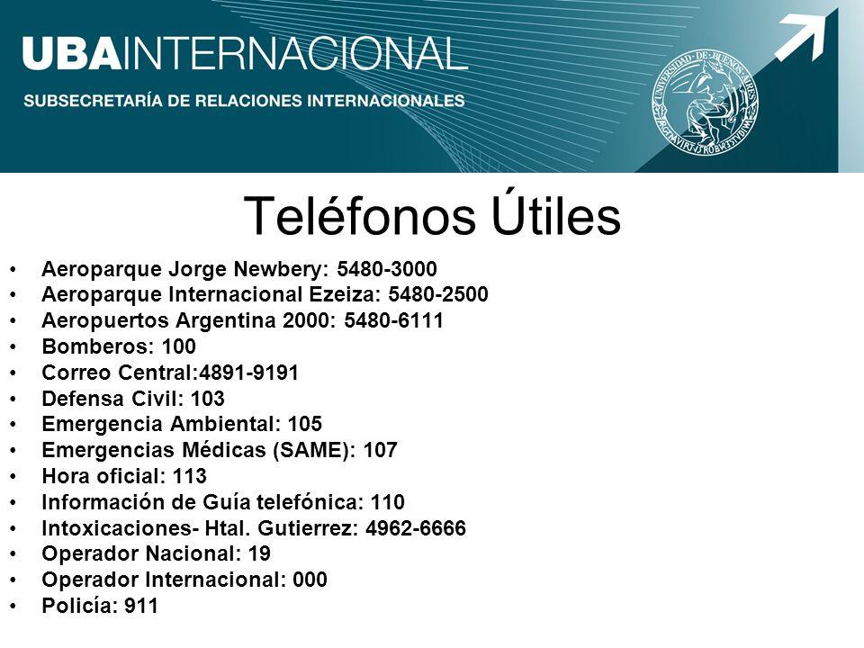 Teléfonos Útiles Aeroparque Jorge Newbery: 5480-3000