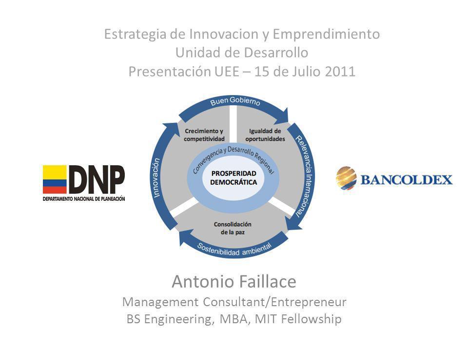 Estrategia de Innovacion y Emprendimiento Unidad de Desarrollo Presentación UEE – 15 de Julio 2011
