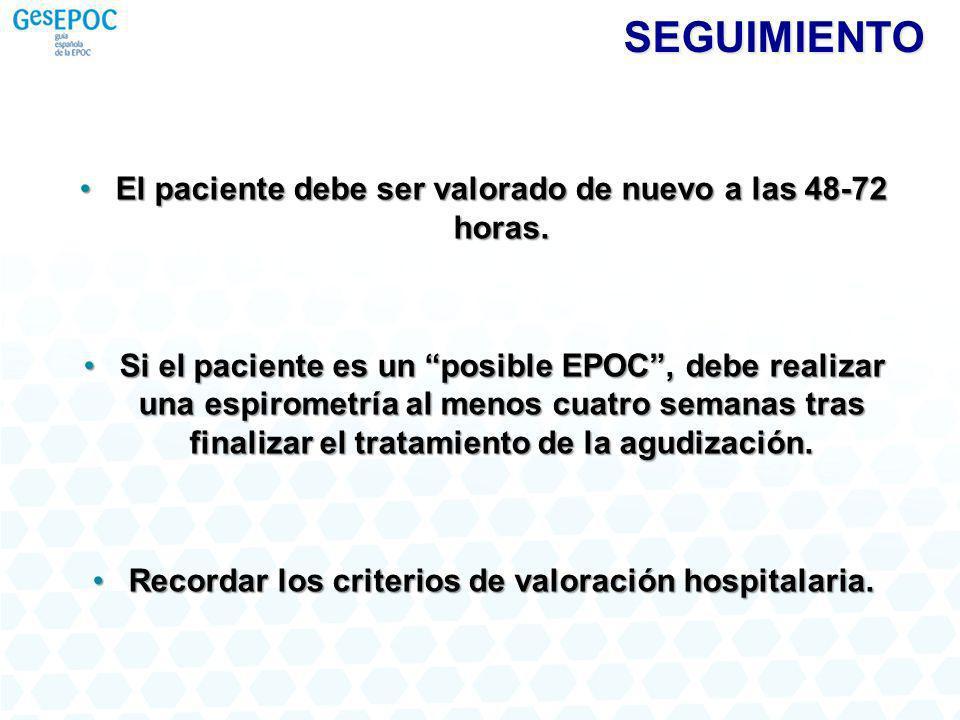 SEGUIMIENTO El paciente debe ser valorado de nuevo a las 48-72 horas.