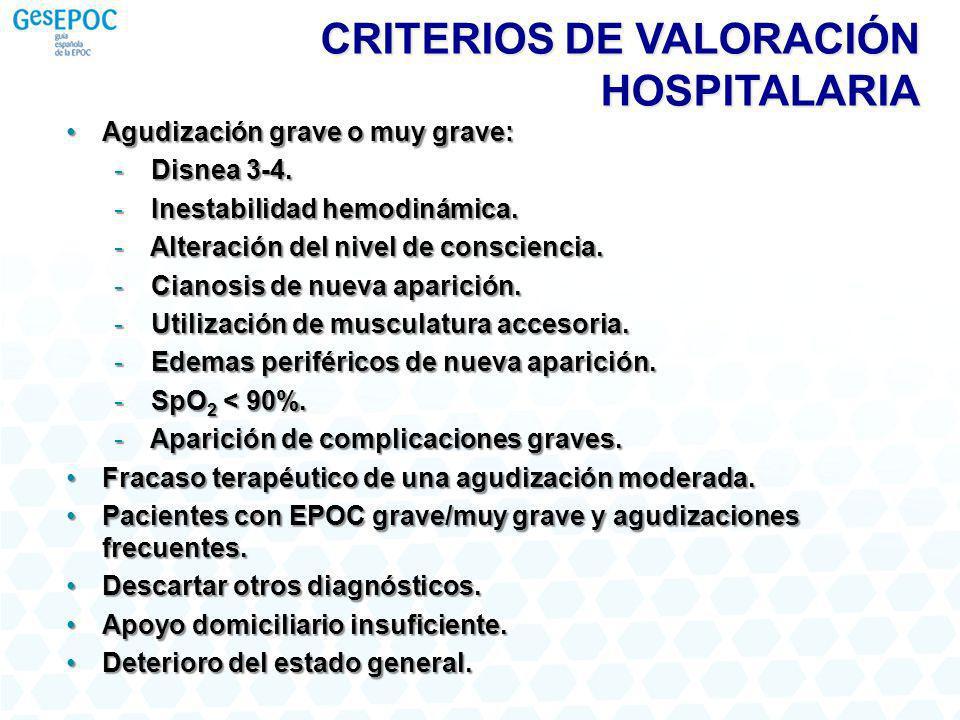 CRITERIOS DE VALORACIÓN HOSPITALARIA