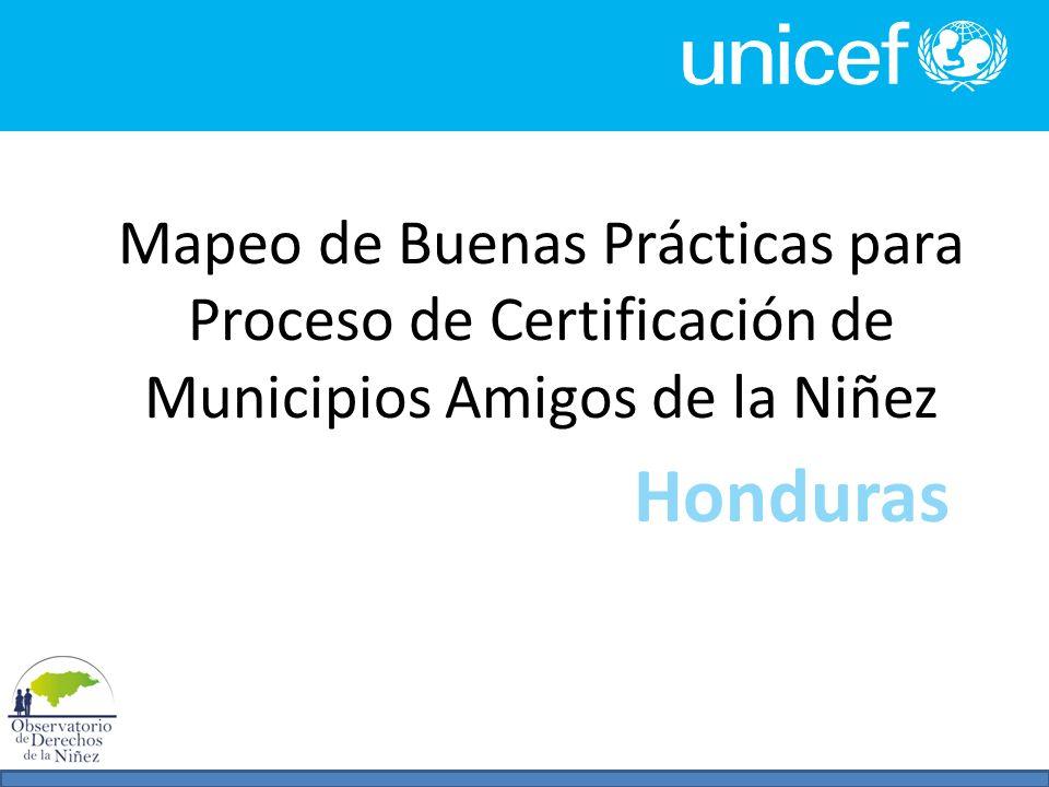 Mapeo de Buenas Prácticas para Proceso de Certificación de Municipios Amigos de la Niñez