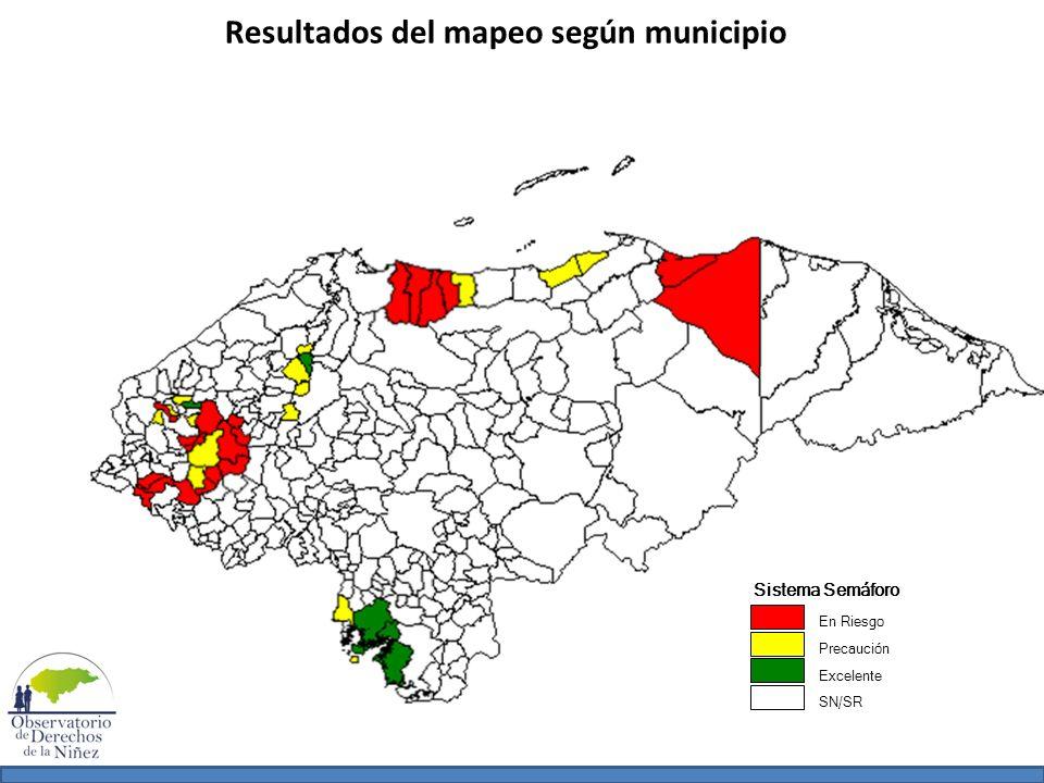 Resultados del mapeo según municipio