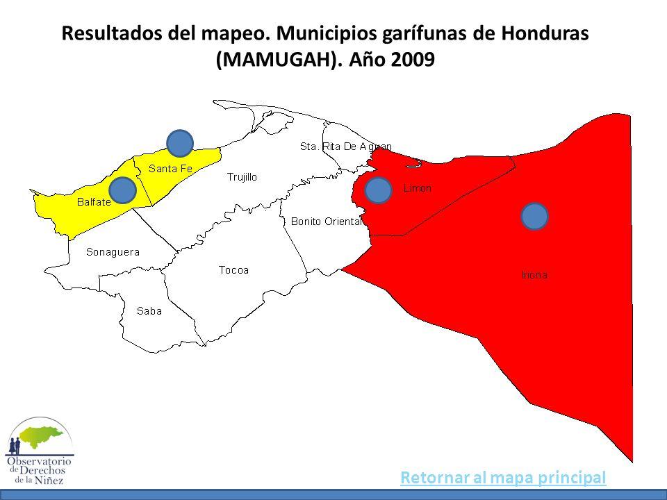 Resultados del mapeo. Municipios garífunas de Honduras (MAMUGAH)