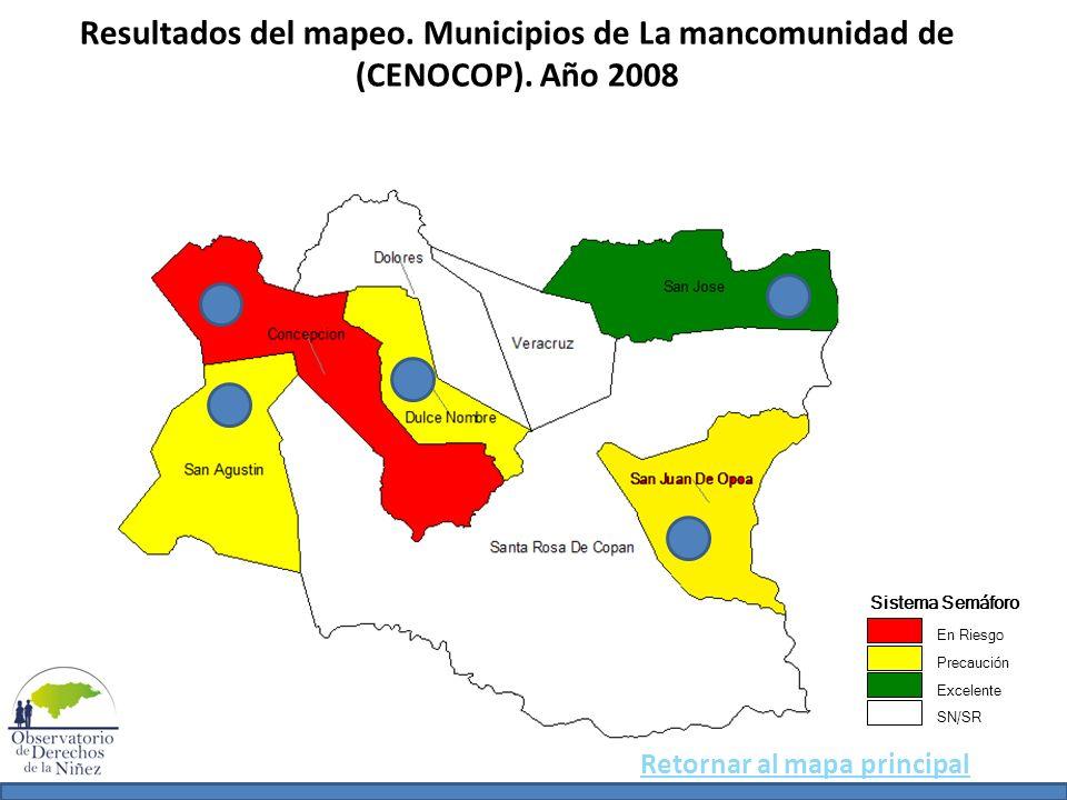 Resultados del mapeo. Municipios de La mancomunidad de (CENOCOP)