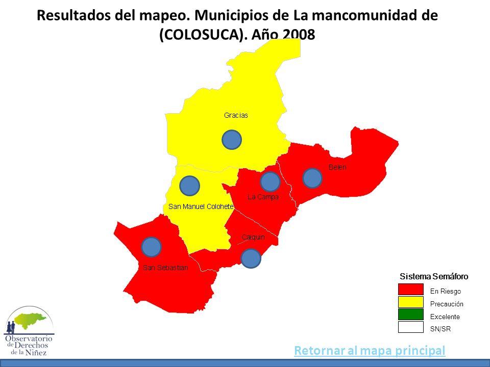 Resultados del mapeo. Municipios de La mancomunidad de (COLOSUCA)