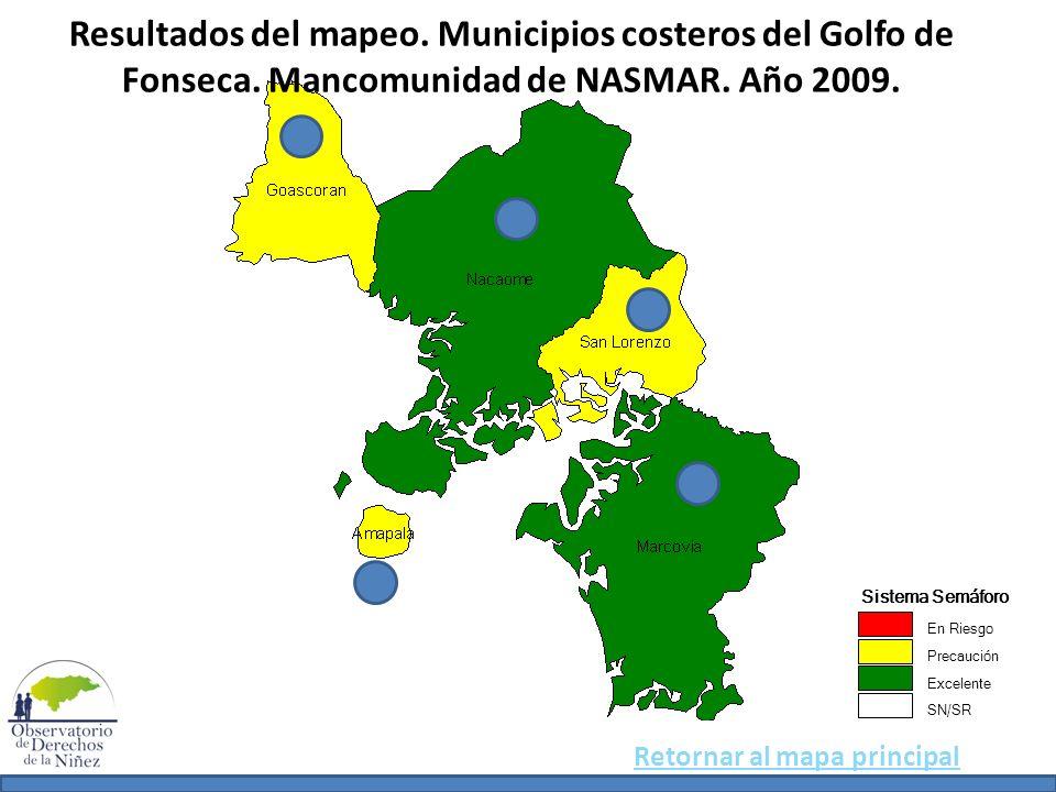Resultados del mapeo. Municipios costeros del Golfo de Fonseca