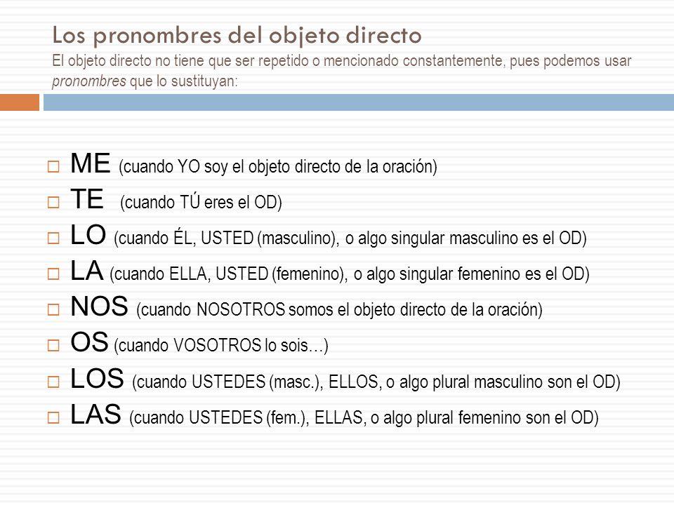 Los pronombres del objeto directo El objeto directo no tiene que ser repetido o mencionado constantemente, pues podemos usar pronombres que lo sustituyan: