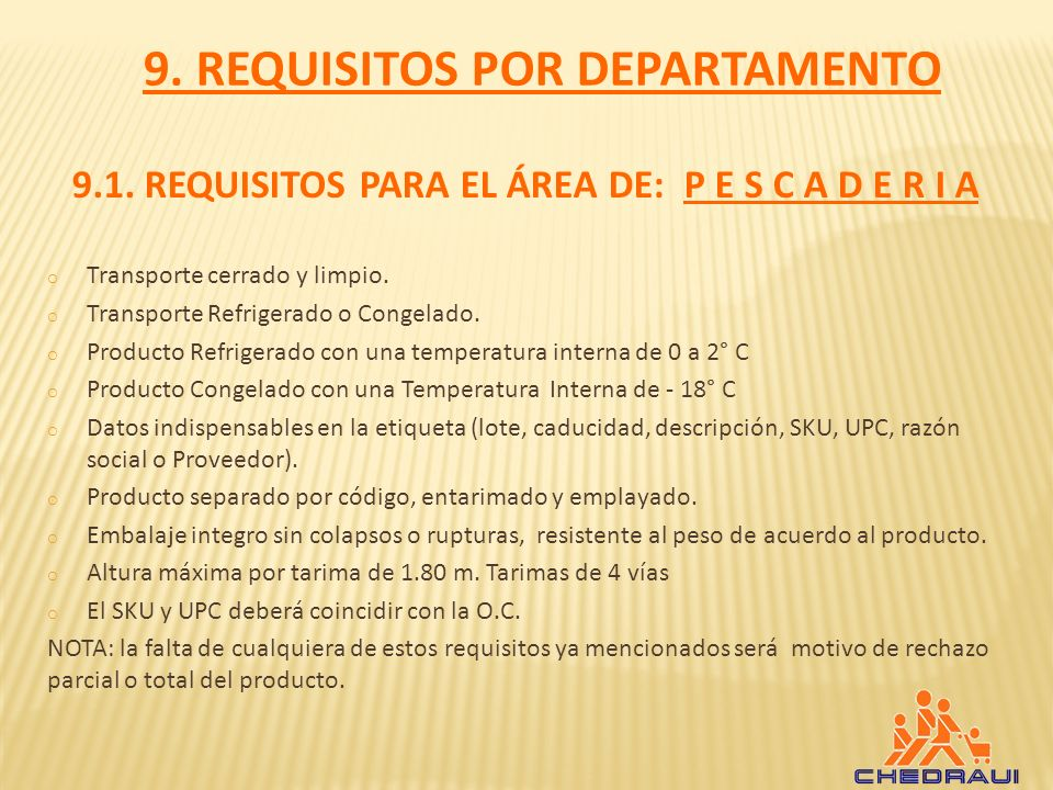 9. REQUISITOS POR DEPARTAMENTO