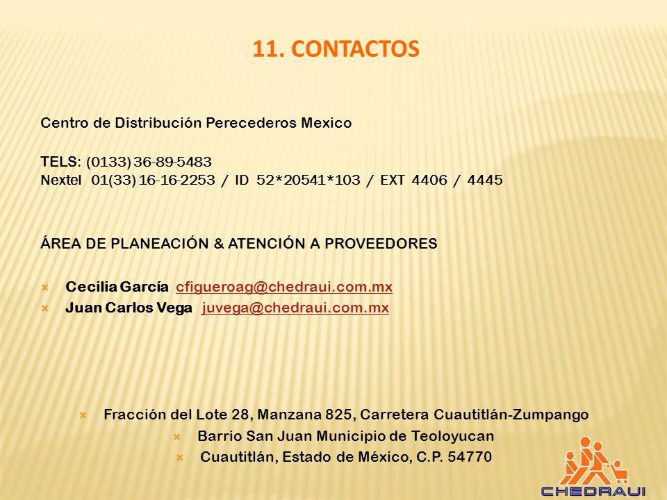 11. CONTACTOS Centro de Distribución Perecederos Mexico