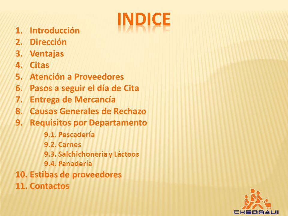 INDICE Introducción Dirección Ventajas Citas Atención a Proveedores