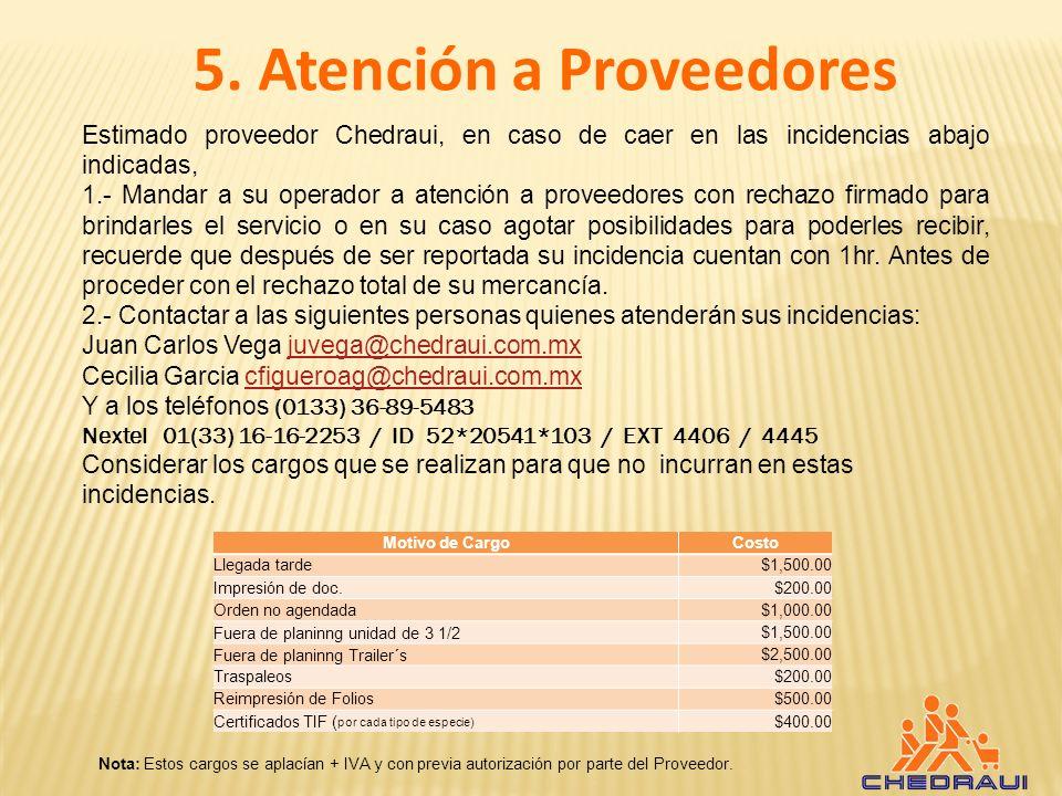 5. Atención a Proveedores