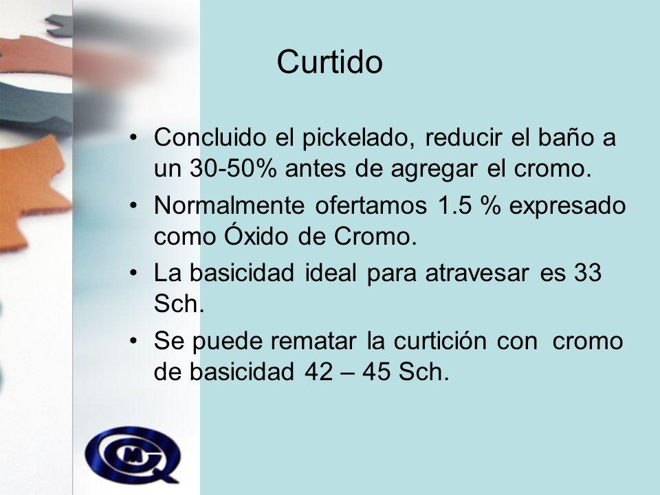 Curtido Concluido el pickelado, reducir el baño a un 30-50% antes de agregar el cromo. Normalmente ofertamos 1.5 % expresado como Óxido de Cromo.