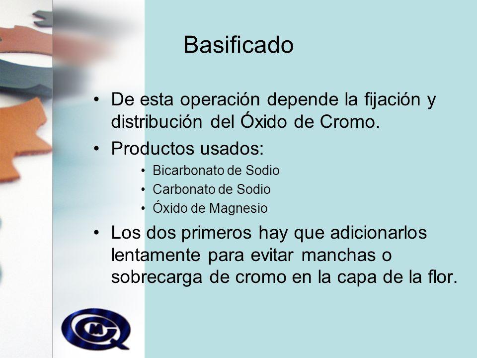 Basificado De esta operación depende la fijación y distribución del Óxido de Cromo. Productos usados:
