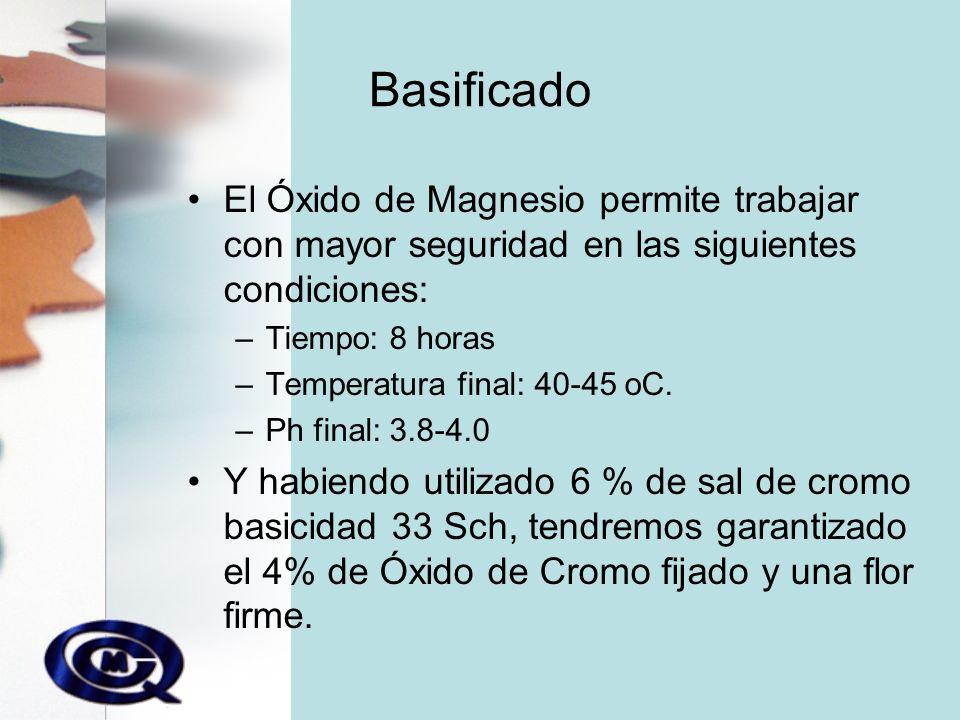 Basificado El Óxido de Magnesio permite trabajar con mayor seguridad en las siguientes condiciones: