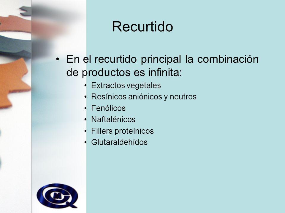 Recurtido En el recurtido principal la combinación de productos es infinita: Extractos vegetales. Resínicos aniónicos y neutros.