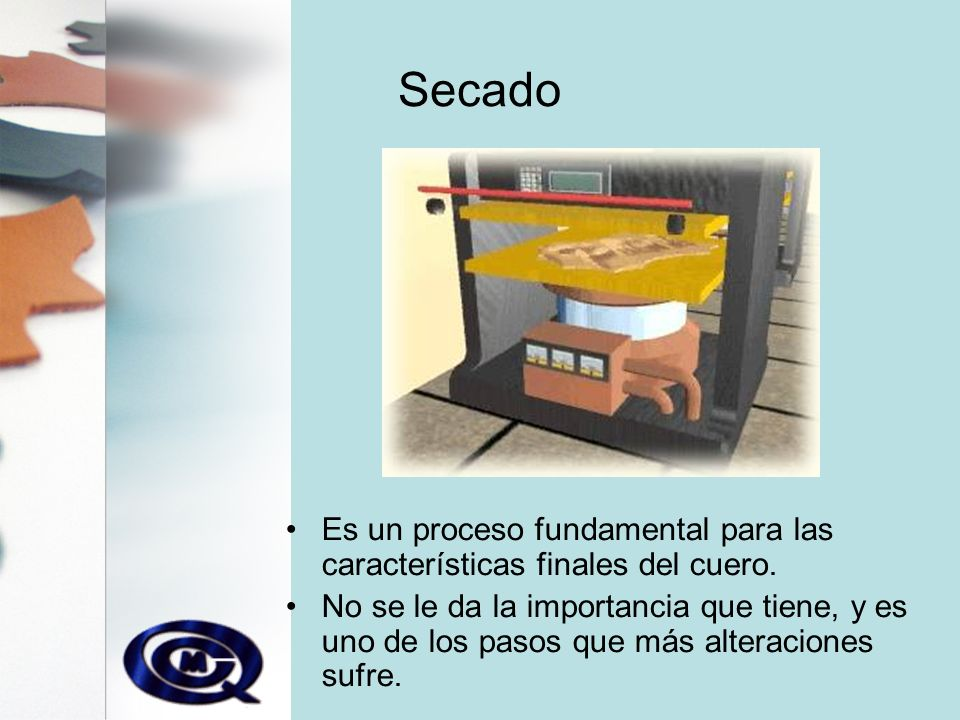 Secado Es un proceso fundamental para las características finales del cuero.