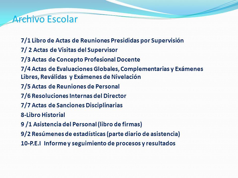 Archivo Escolar 7/1 Libro de Actas de Reuniones Presididas por Supervisión. 7/ 2 Actas de Visitas del Supervisor.