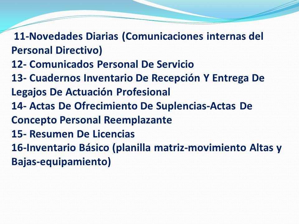 11-Novedades Diarias (Comunicaciones internas del Personal Directivo)