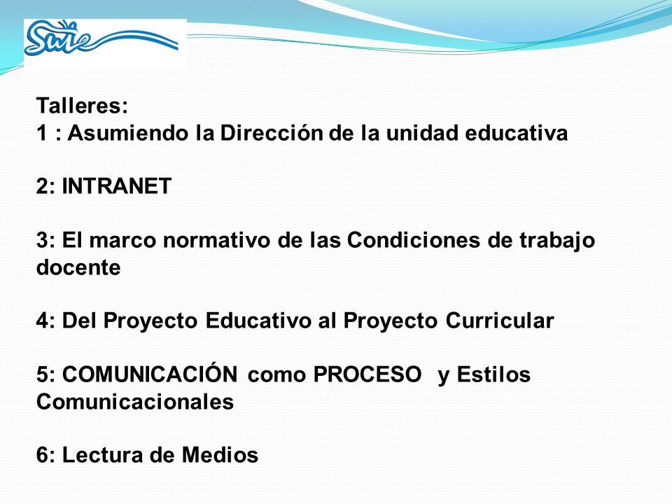 Talleres: 1 : Asumiendo la Dirección de la unidad educativa. 2: INTRANET. 3: El marco normativo de las Condiciones de trabajo docente.