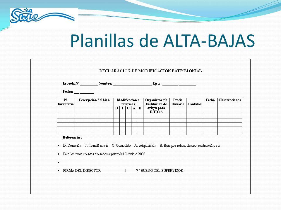 Planillas de ALTA-BAJAS