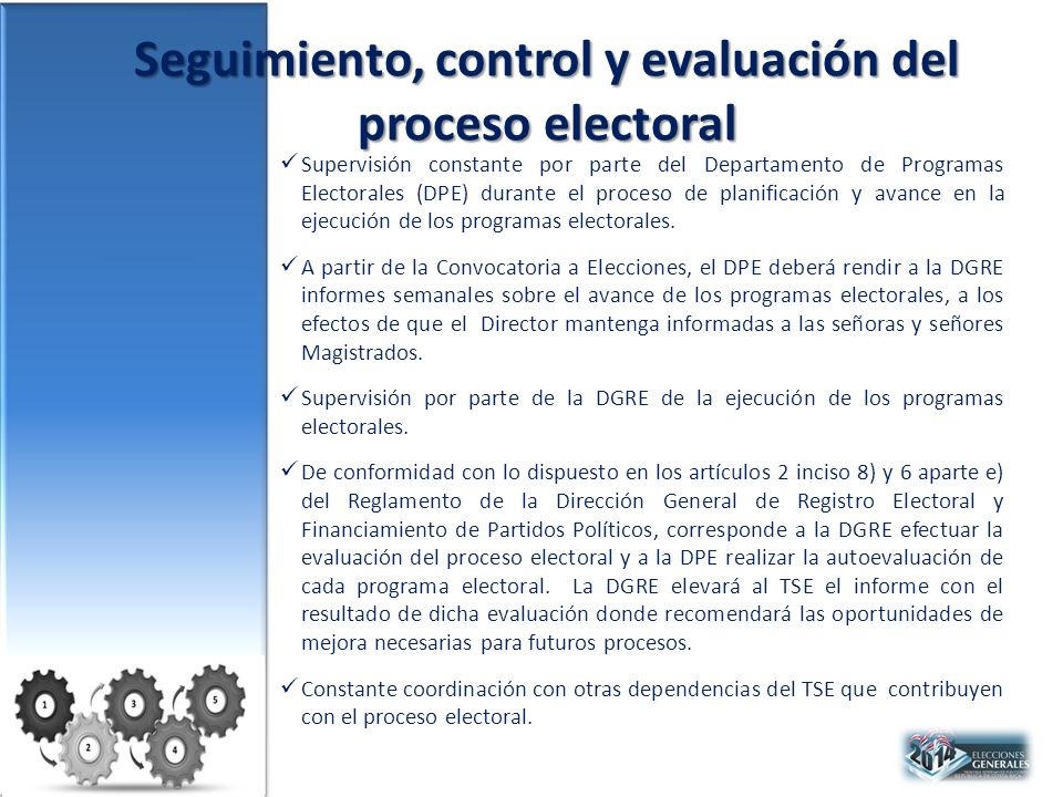 Seguimiento, control y evaluación del proceso electoral