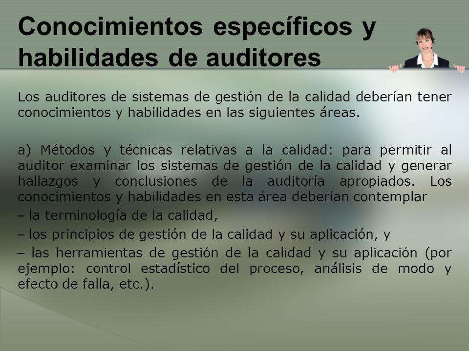 Conocimientos específicos y habilidades de auditores
