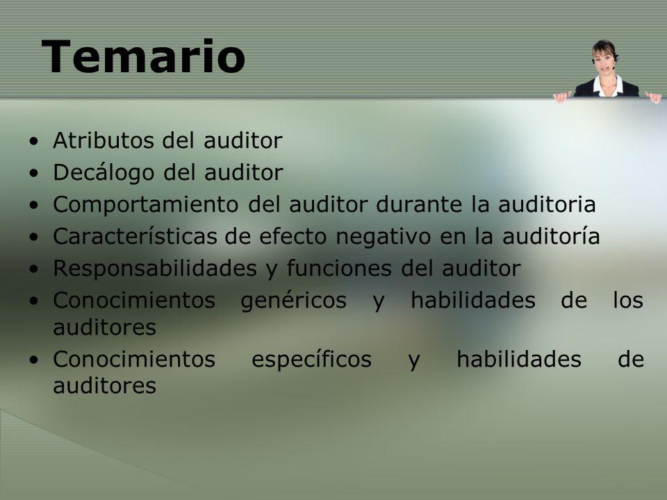 Temario Atributos del auditor Decálogo del auditor
