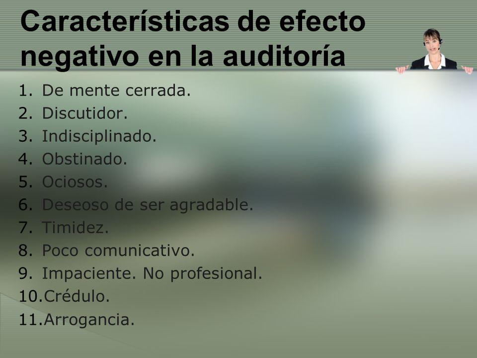 Características de efecto negativo en la auditoría