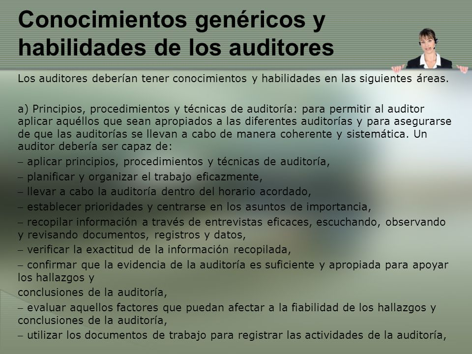 Conocimientos genéricos y habilidades de los auditores