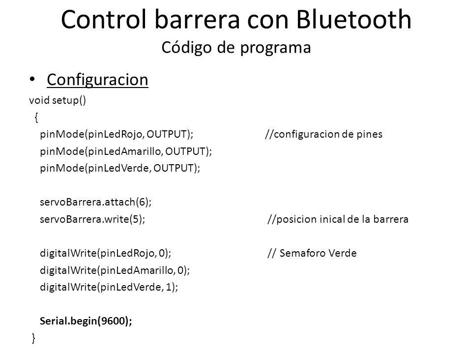 Control barrera con Bluetooth Código de programa