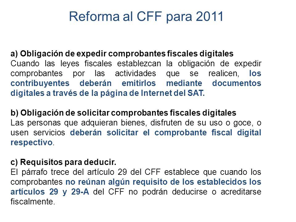 Reforma al CFF para 2011