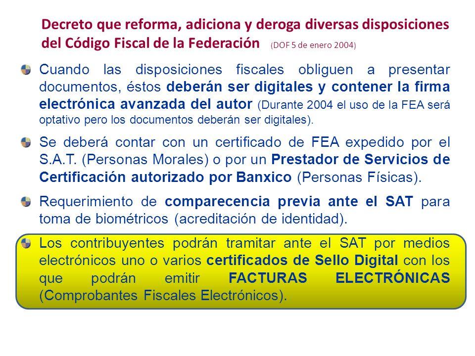 Decreto que reforma, adiciona y deroga diversas disposiciones del Código Fiscal de la Federación (DOF 5 de enero 2004)