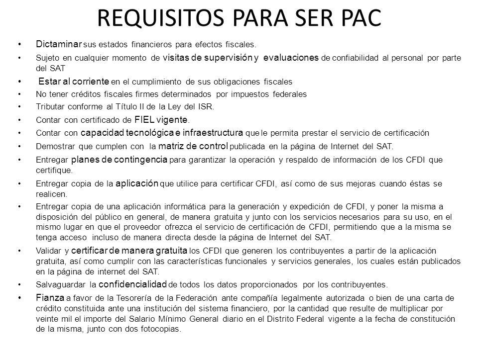 REQUISITOS PARA SER PAC