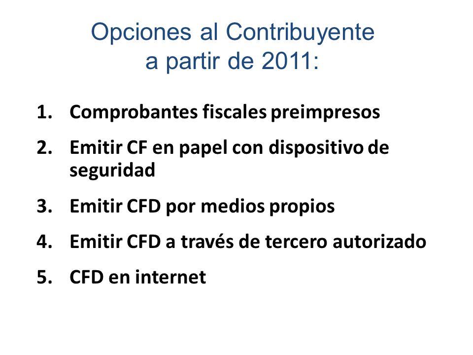 Opciones al Contribuyente a partir de 2011: