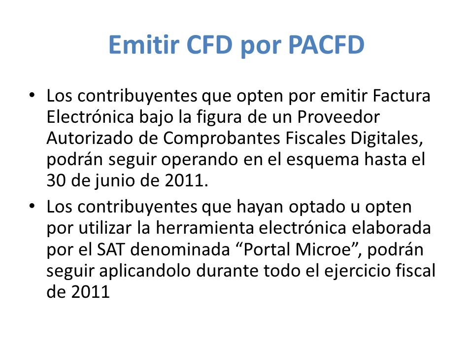 Emitir CFD por PACFD