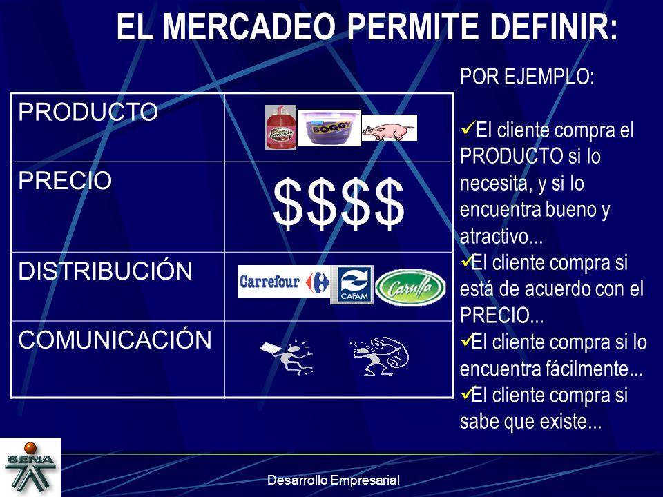 EL MERCADEO PERMITE DEFINIR: