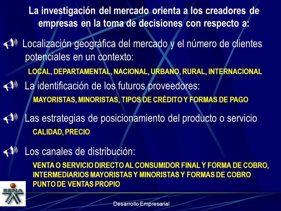 Localización geográfica del mercado y el número de clientes