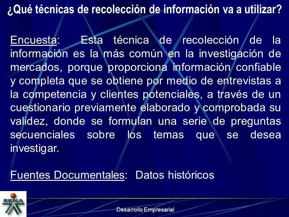 ¿Qué técnicas de recolección de información va a utilizar