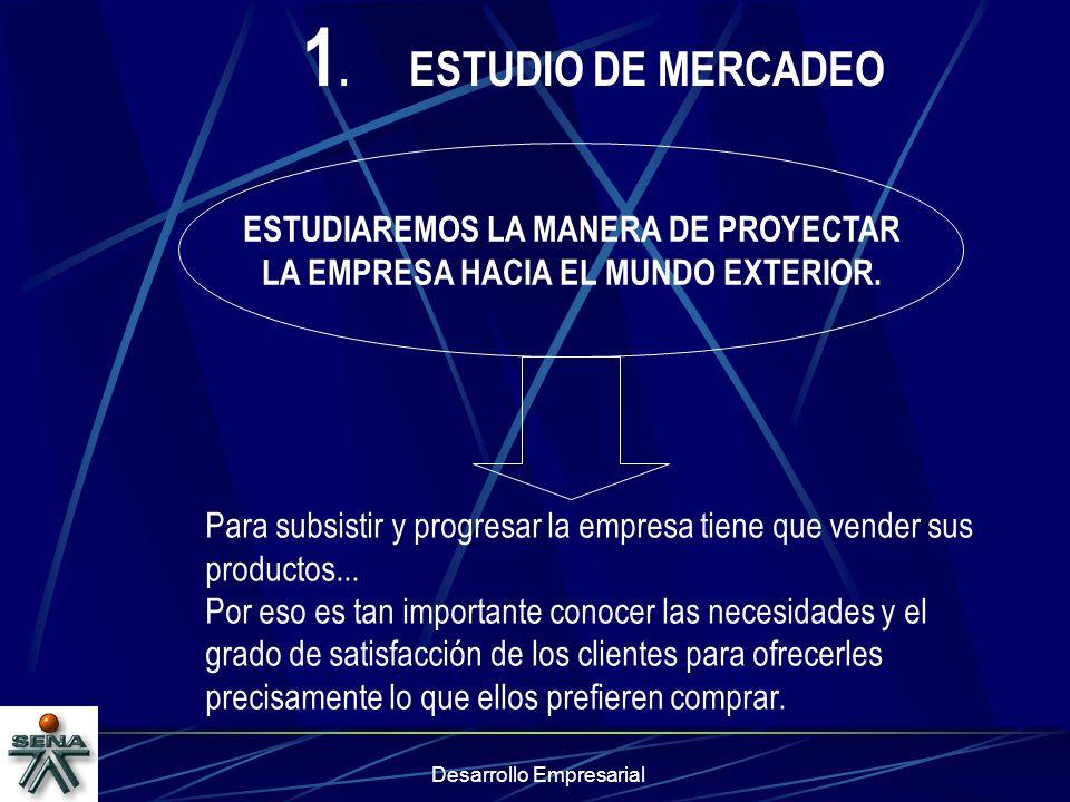 1. ESTUDIO DE MERCADEO ESTUDIAREMOS LA MANERA DE PROYECTAR