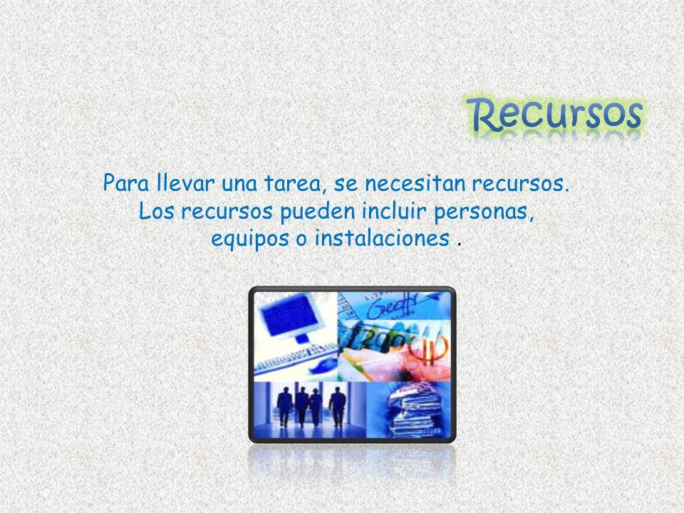 RecursosPara llevar una tarea, se necesitan recursos.