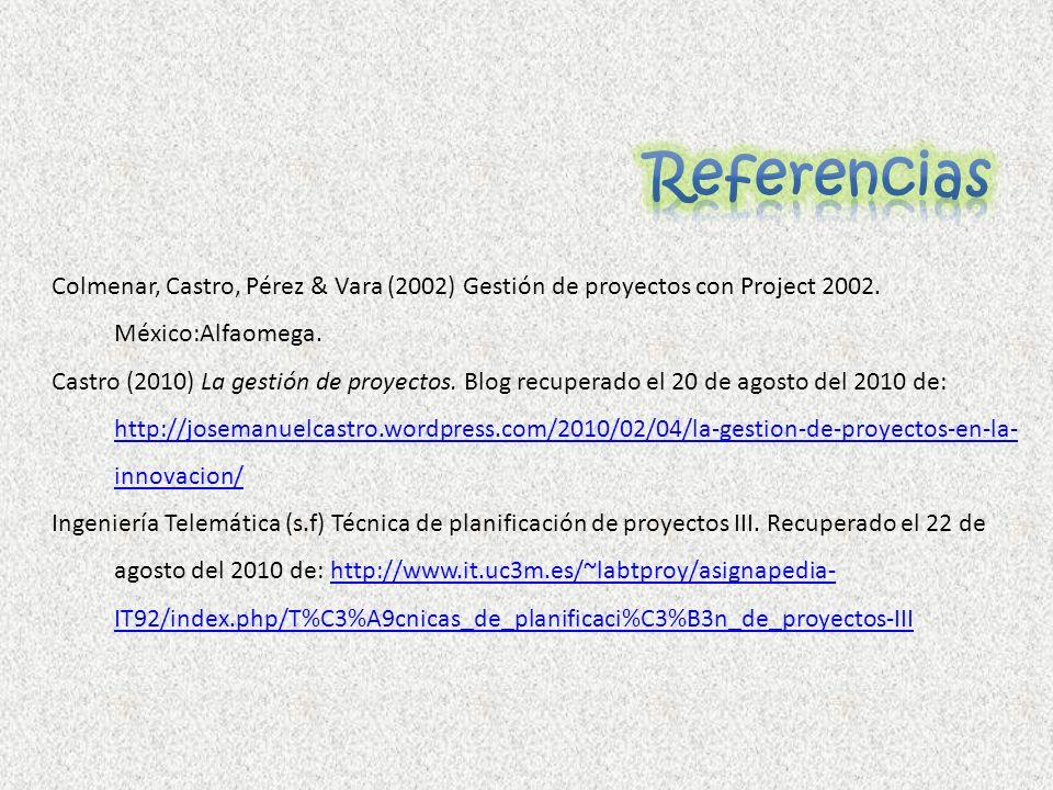 ReferenciasColmenar, Castro, Pérez & Vara (2002) Gestión de proyectos con Project 2002. México:Alfaomega.