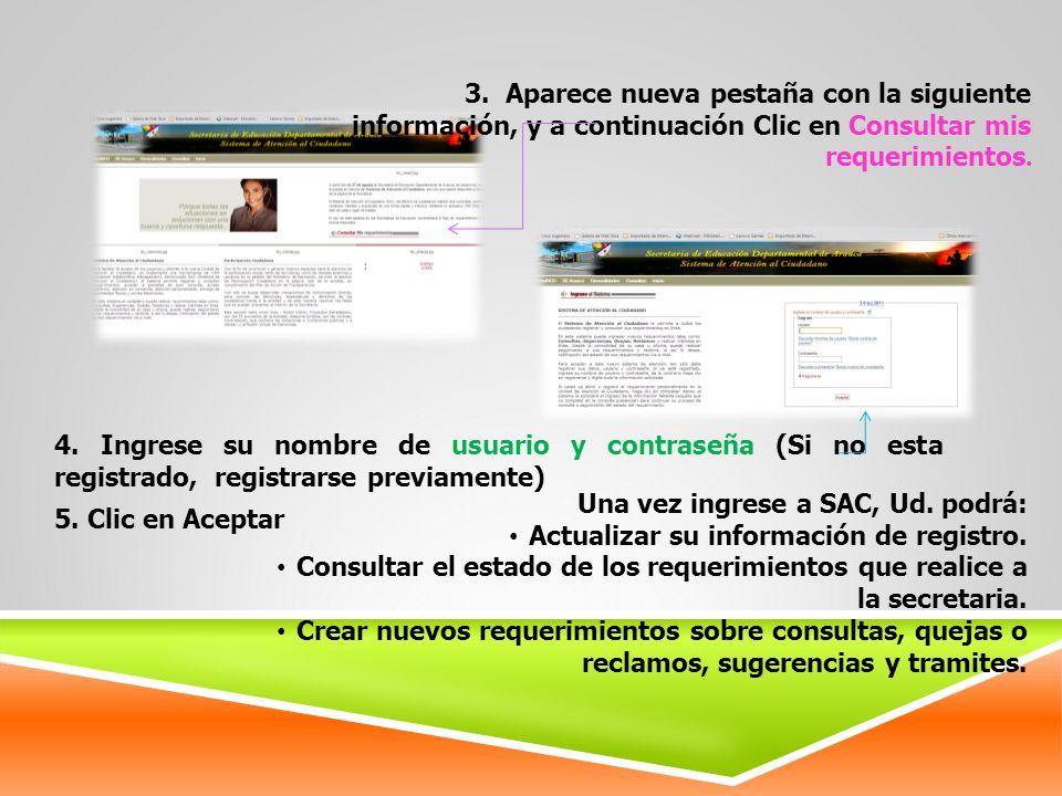 3. Aparece nueva pestaña con la siguiente información, y a continuación Clic en Consultar mis requerimientos.