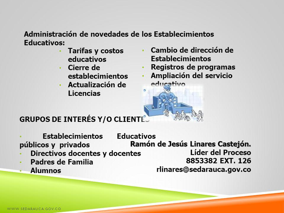 Administración de novedades de los Establecimientos Educativos:
