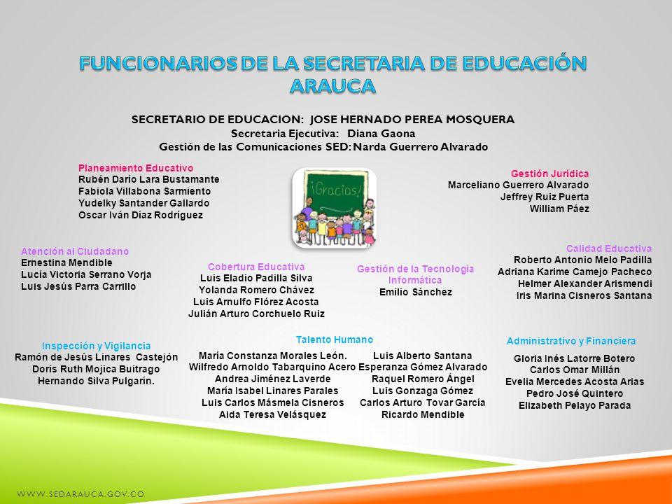 FUNCIONARIOS DE LA SECRETARIA DE EDUCACIÓN ARAUCA