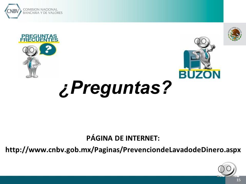 ¿Preguntas PÁGINA DE INTERNET: