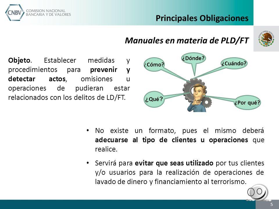 Principales Obligaciones Manuales en materia de PLD/FT
